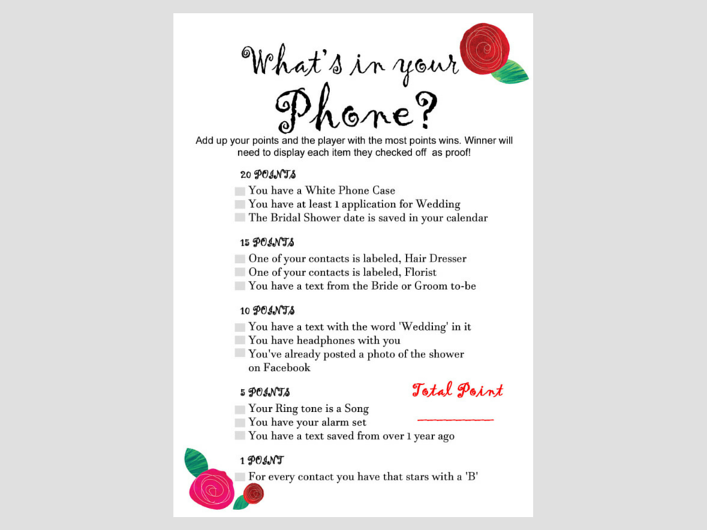 whats in your phone, Rose Theme Bridal Shower Games and Activities ...