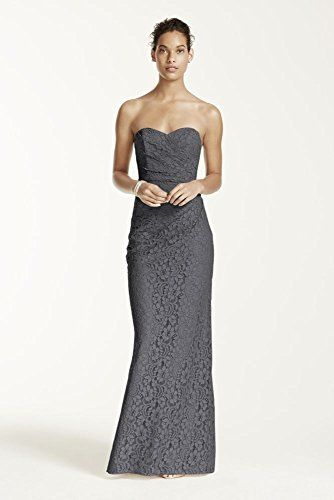 8d93b2b4b81 Long Strapless Lace Bridesmaid Dress with Sweetheart Neckline Style  W10329