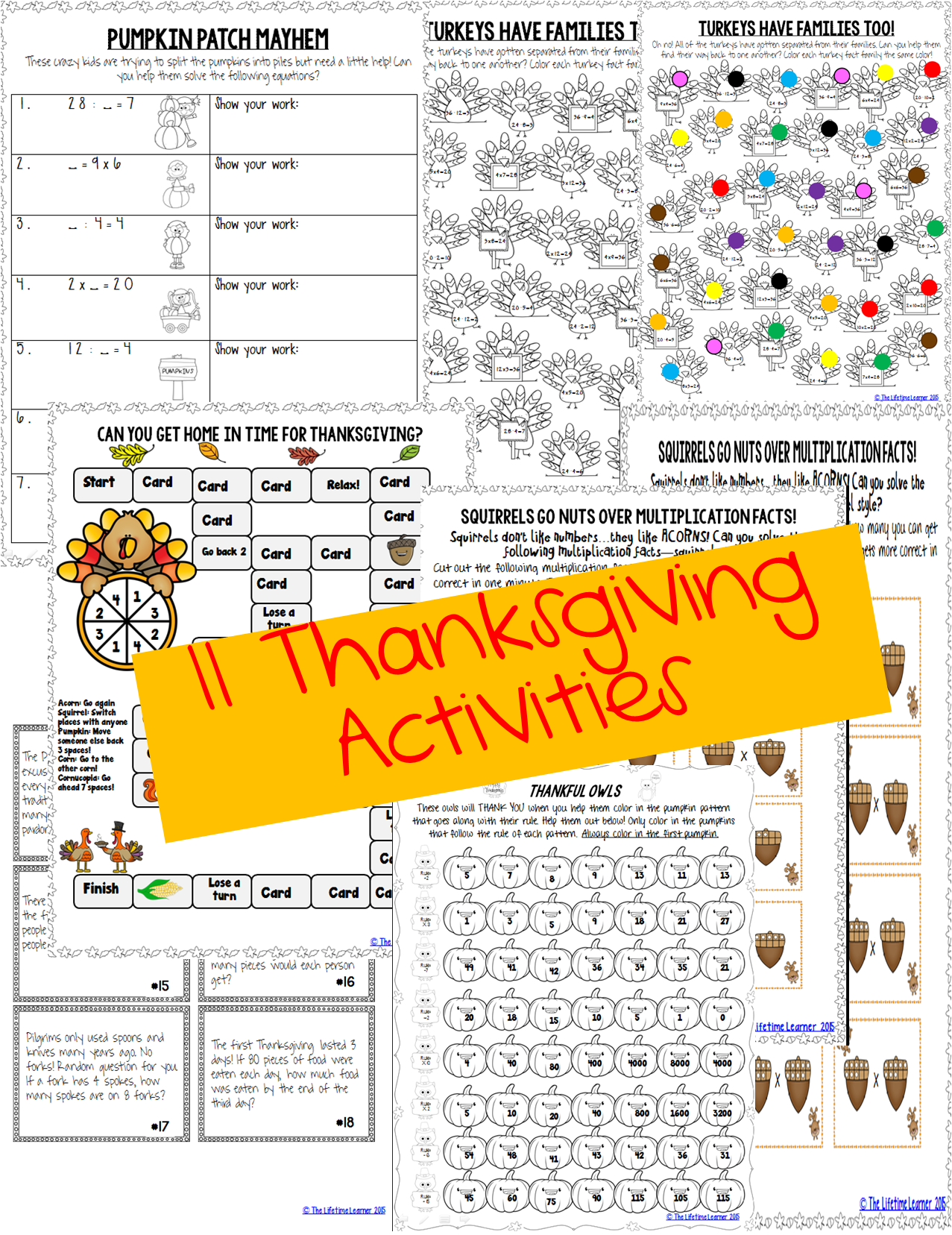 3rd Grade Thanksgiving Math | Fact families, Math skills and Word ...