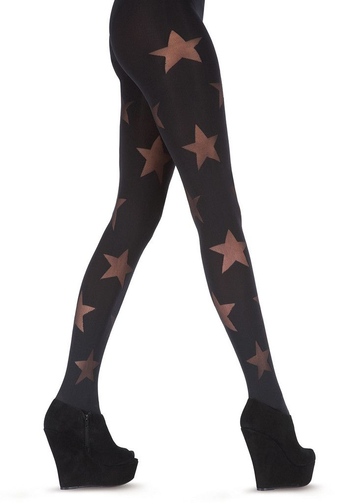 7b796f945bb55 Pretty Polly House of Holland Reverse Star Tights (HHAQY4) one size/Black  Pretty