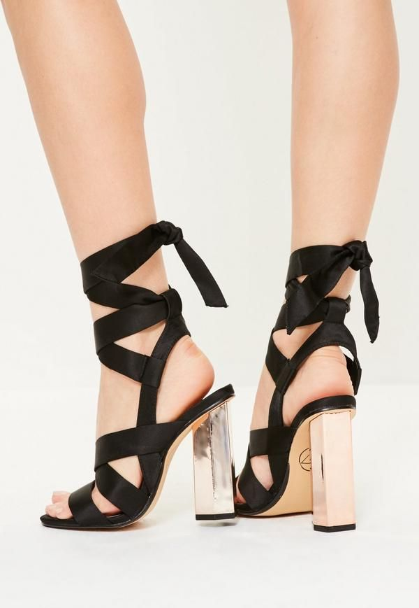 309f6201e7b These black satin block heeled sandals are totally lust-worthy! With rose  gold heels and tie features - this is the perfect pair!