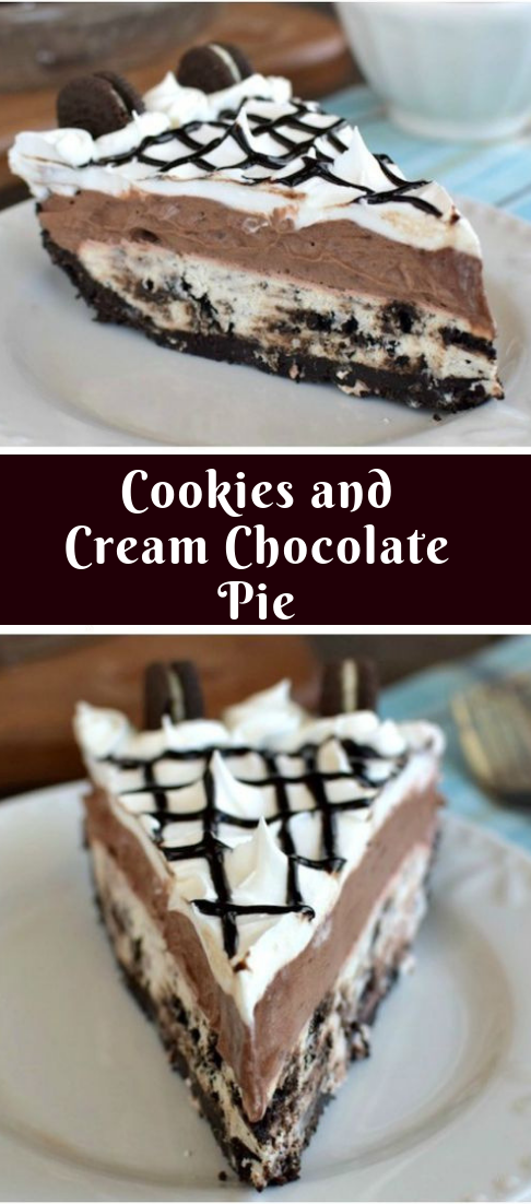 Cookies and Cream Chocolate Pie #dessert #deliousrecipe #cookiesandcreamfrosting