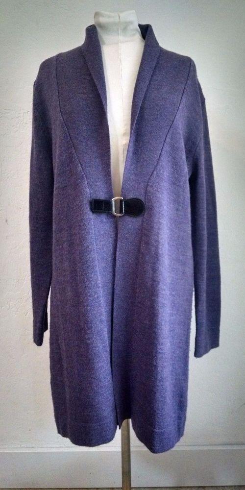 Valerie Bertinelli Wool Cardigan Sweater XL Purple Merino Belted Long #ValerieBertinelli #Cardigan
