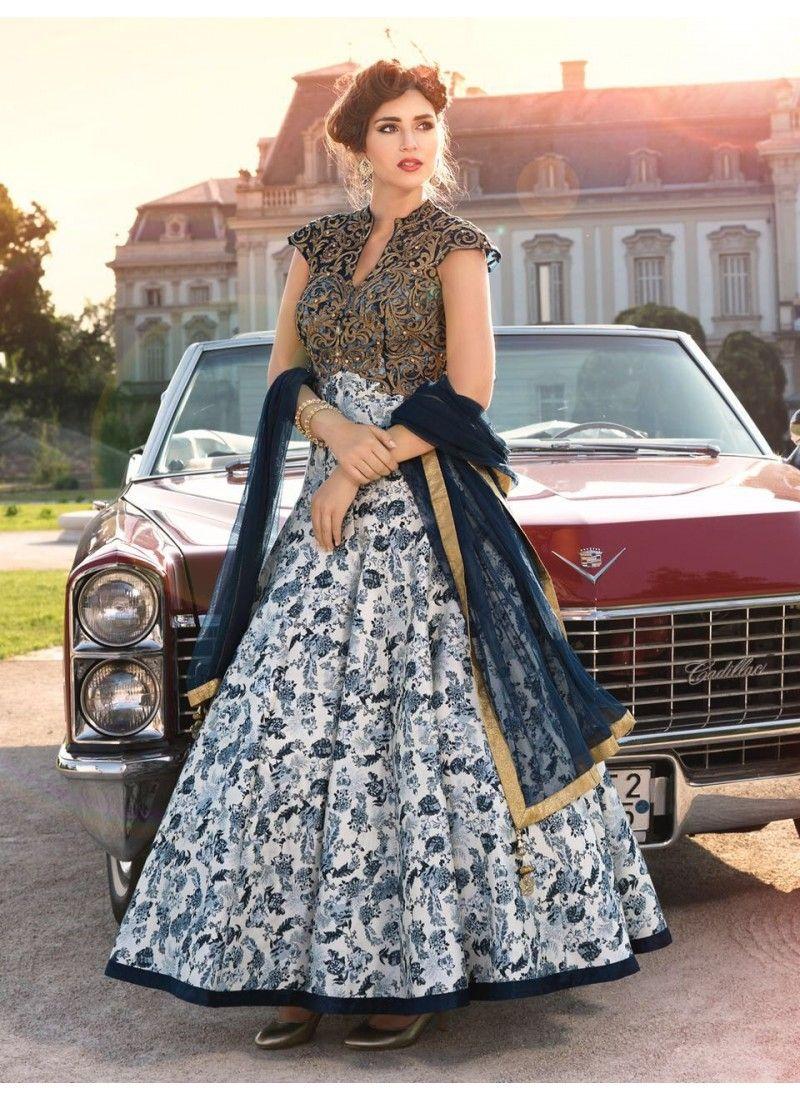 White And Dark Blue Colored Ravishing Designer Pure Bhagalpuri Gown