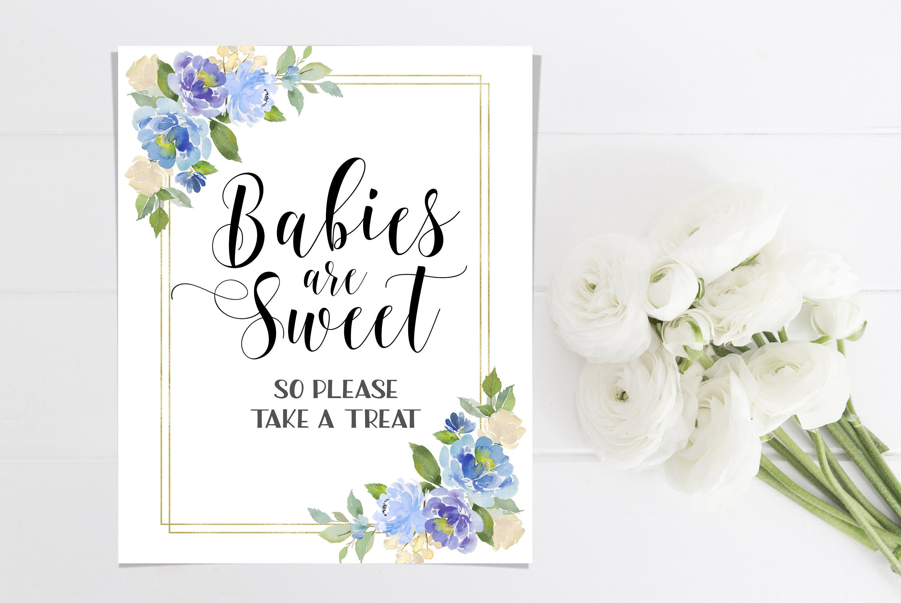 Babies are sweet sign printable baby shower floral sign