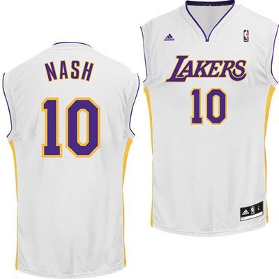2737f139f Los Angeles Lakers Steve Nash  10 Replica Jersey (White)