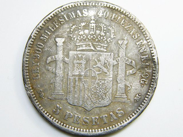 Silver Spanish Coin 5 Pesetas 1871 Co