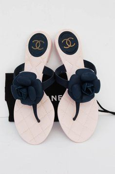7333de73a6baa0 Chanel Camellia Flip Flops Navy Blue Sandals. Get the must-have sandals of  this season! These Chanel Camellia Flip Flops Navy Blue Sandals are a top 10  ...