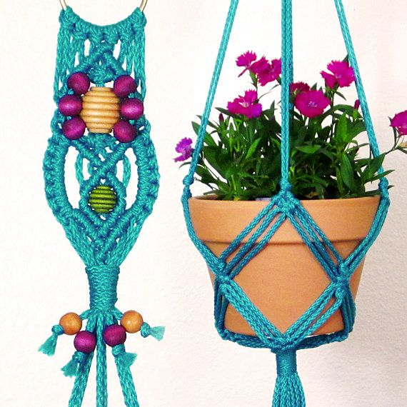 Indoor Plant Hanger Turquoise Macrame Holder For 6 Inch Pot Decorative Rope
