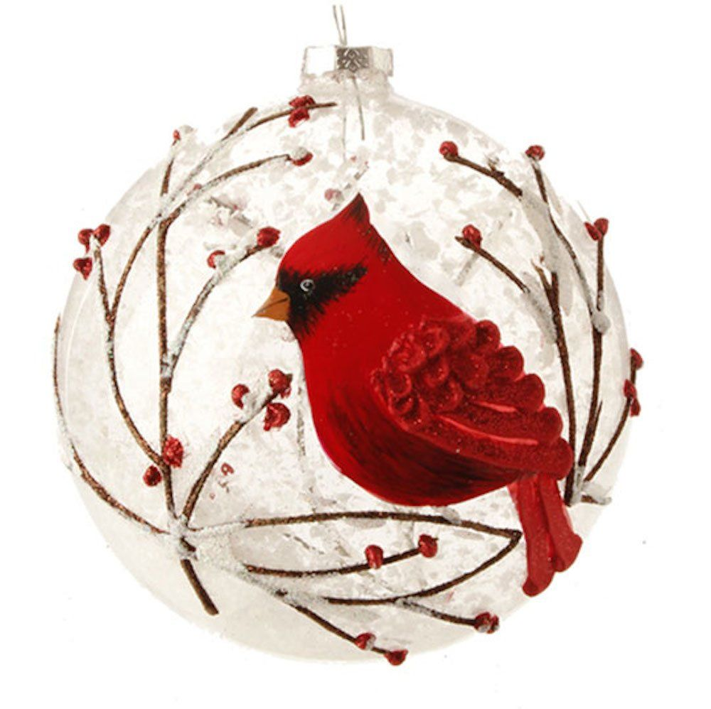 Snowy Red Cardinal & Branches Glass Ball Christmas Tree