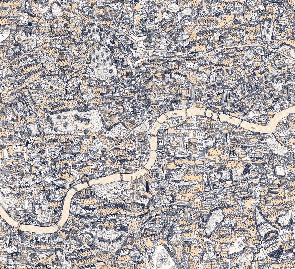 Map Over London.London As You Ve Never Seen It Before Artist Spends Hundreds Of