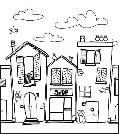 around town coloring pages - photo#28