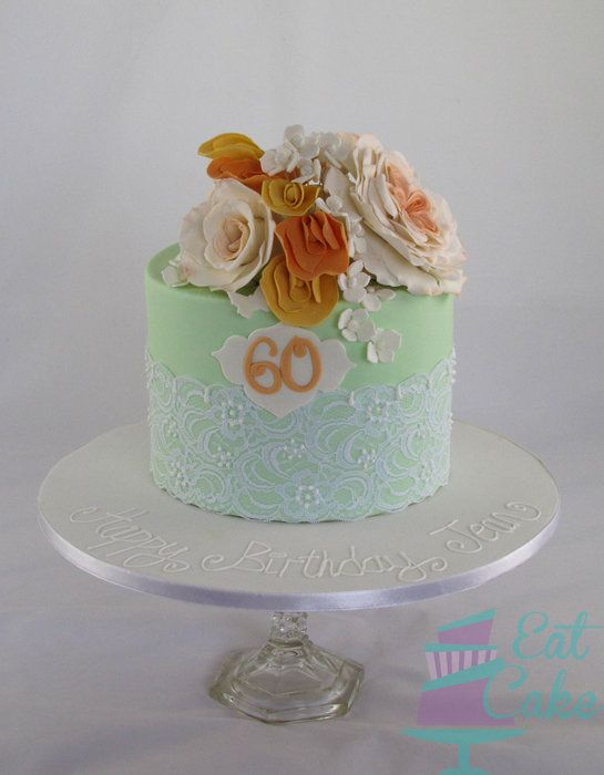Mint And Peach 60th Birthday Cake Cakes Pinterest 60th