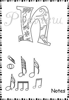 Music Alphabet Coloring pages  Coloring Alphabet coloring pages