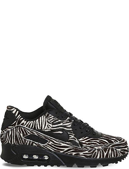 NIKE Air Max 90 zebra print faux-pony hair leather trainers  76dc4c8c5