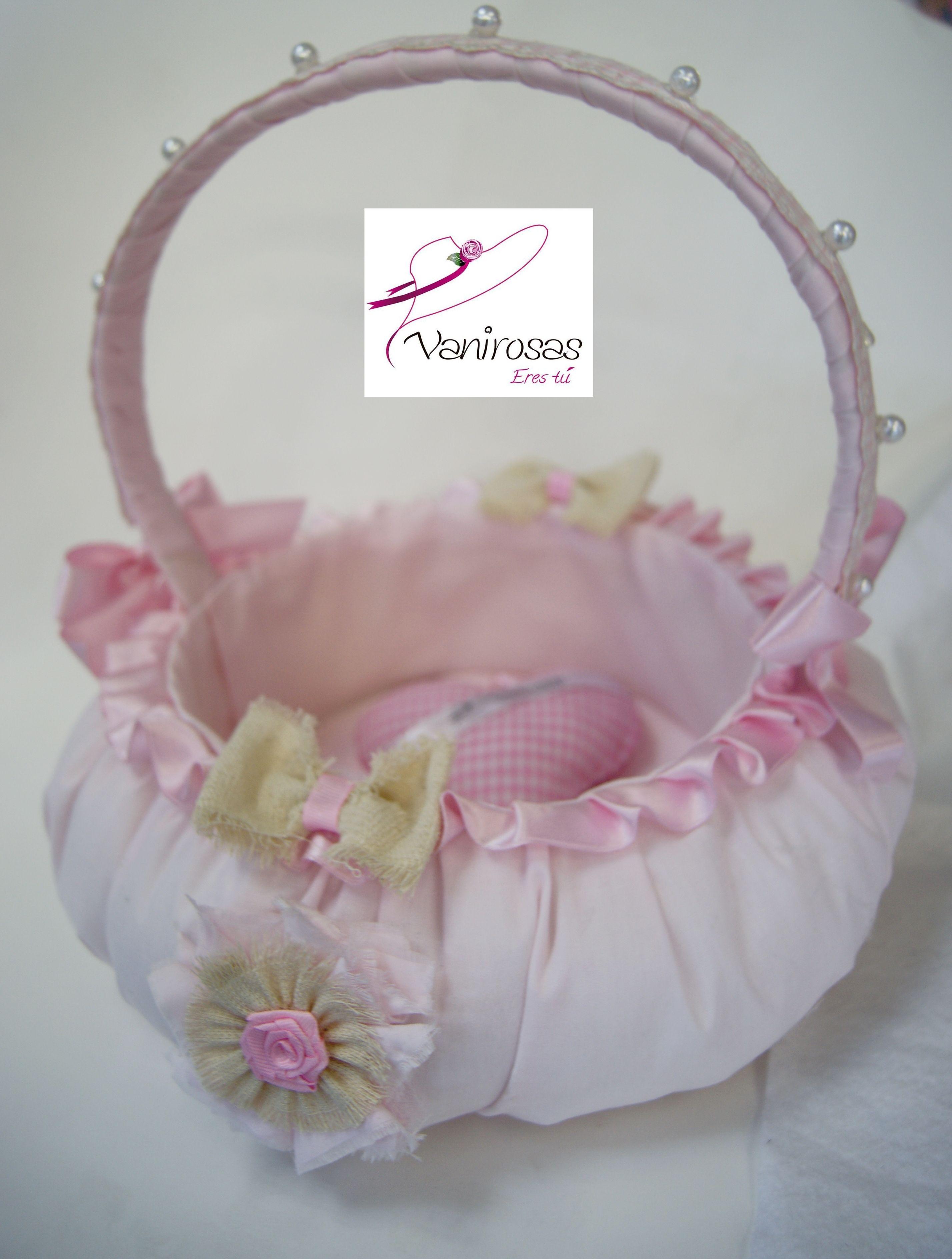 canasta de tela nanzu tono rosa palido o rosa bebe para los souvenir