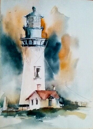 Watercolor Lighthouse By Mahgol Ahmari Lighthouse Painting