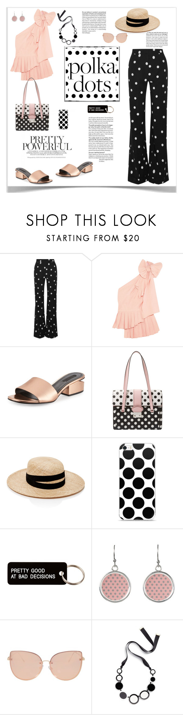 """So Dotty: Polka Dots Style"" by ellie366 ❤ liked on Polyvore featuring Monse, Sea, New York, Alexander Wang, RED Valentino, Janessa Leone, Various Projects, Topshop, Kate Spade, PolkaDots and rosegold"