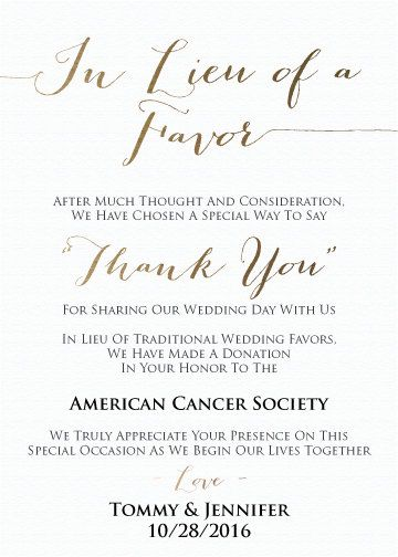 wedding favor donation card in lieu of favors in 2019