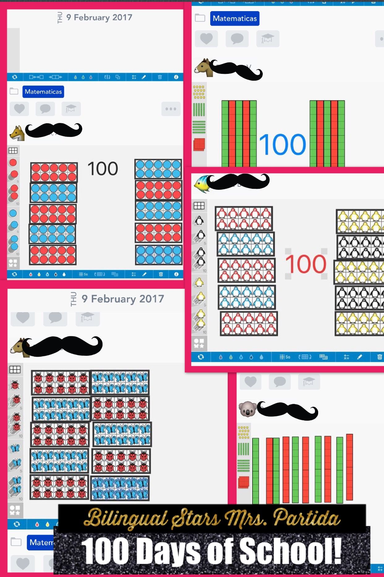 100 Days of School!  We used Number Frames, Number Pieces, and Seesaw to show 100! #bilingualstars1 #bilingualstarsmrspartida #kindergarten #lucypartida
