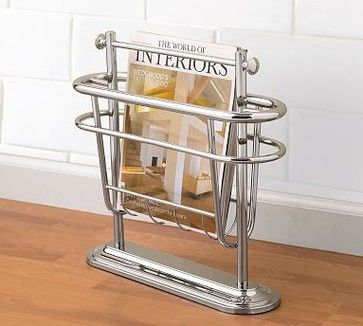 Mercer Floor Magazine Rack Polished Nickel Traditional Racks