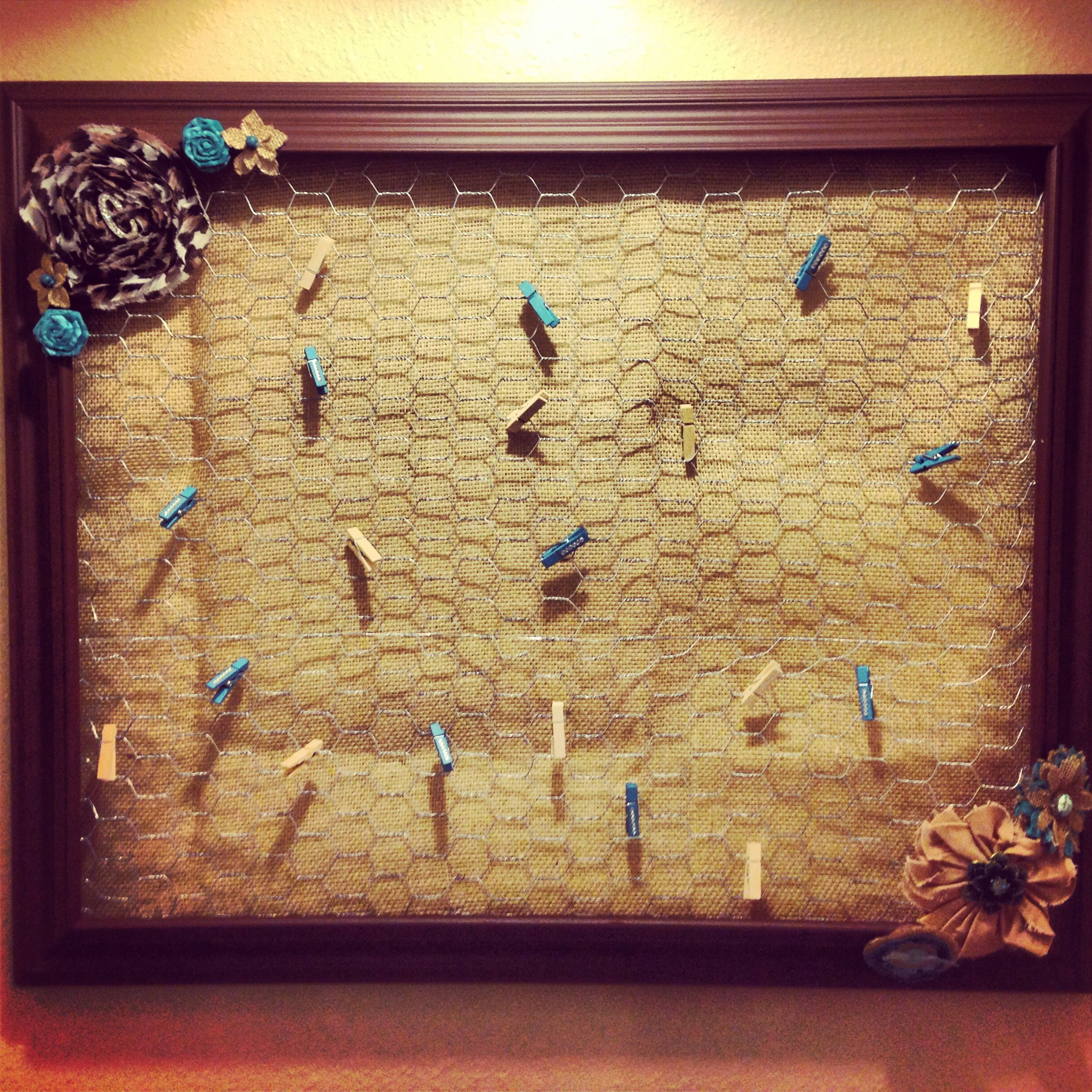Large collage picture frame made with burlap, chicken wire, and ...