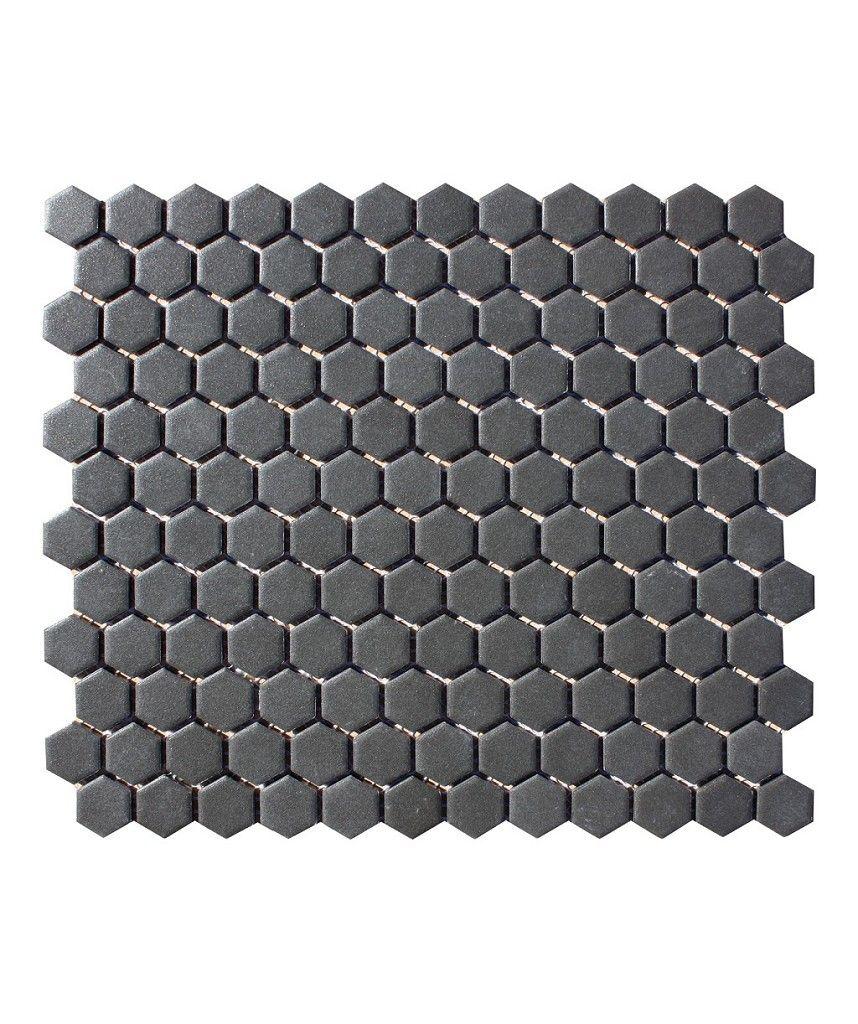 Shapes Hexagon Unglazed Black 23x26mm Mosaic Topps Tiles