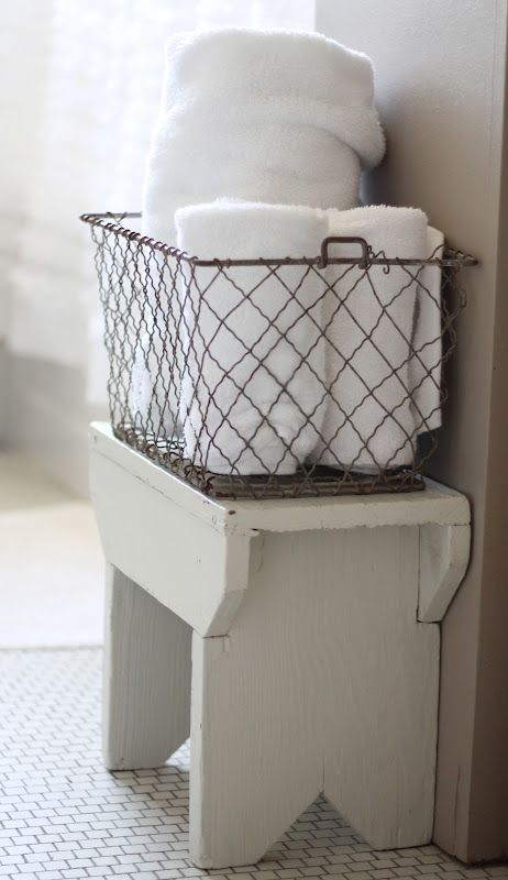 Wire baskets are great for towels. Wire egg-gathering baskets work ...