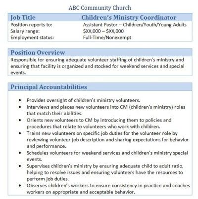 Sample Church Employee Job Descriptions Job description and Churches - ministry resume template