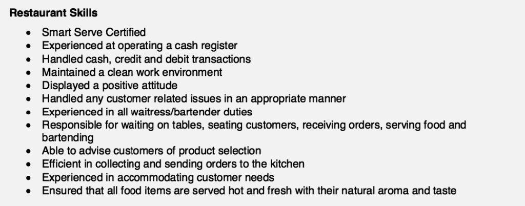 Special skills for restaurant resume resume template