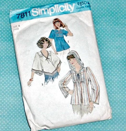 Vintage Sewing Pattern | 1976 Simplicity Misses' Pullover Top | Hippie Shirt | Size 8 by LittleBohoCottage on Etsy