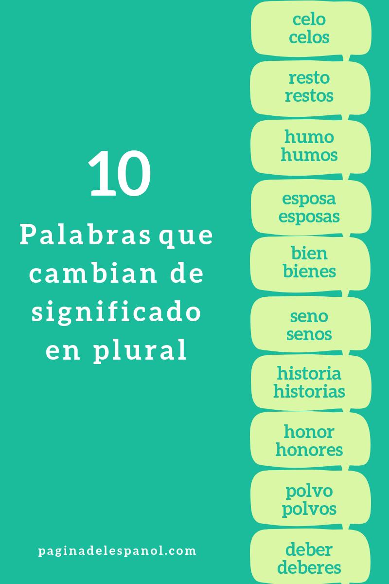 10 Palabras Que Cambian De Significado En Plural Enseñando