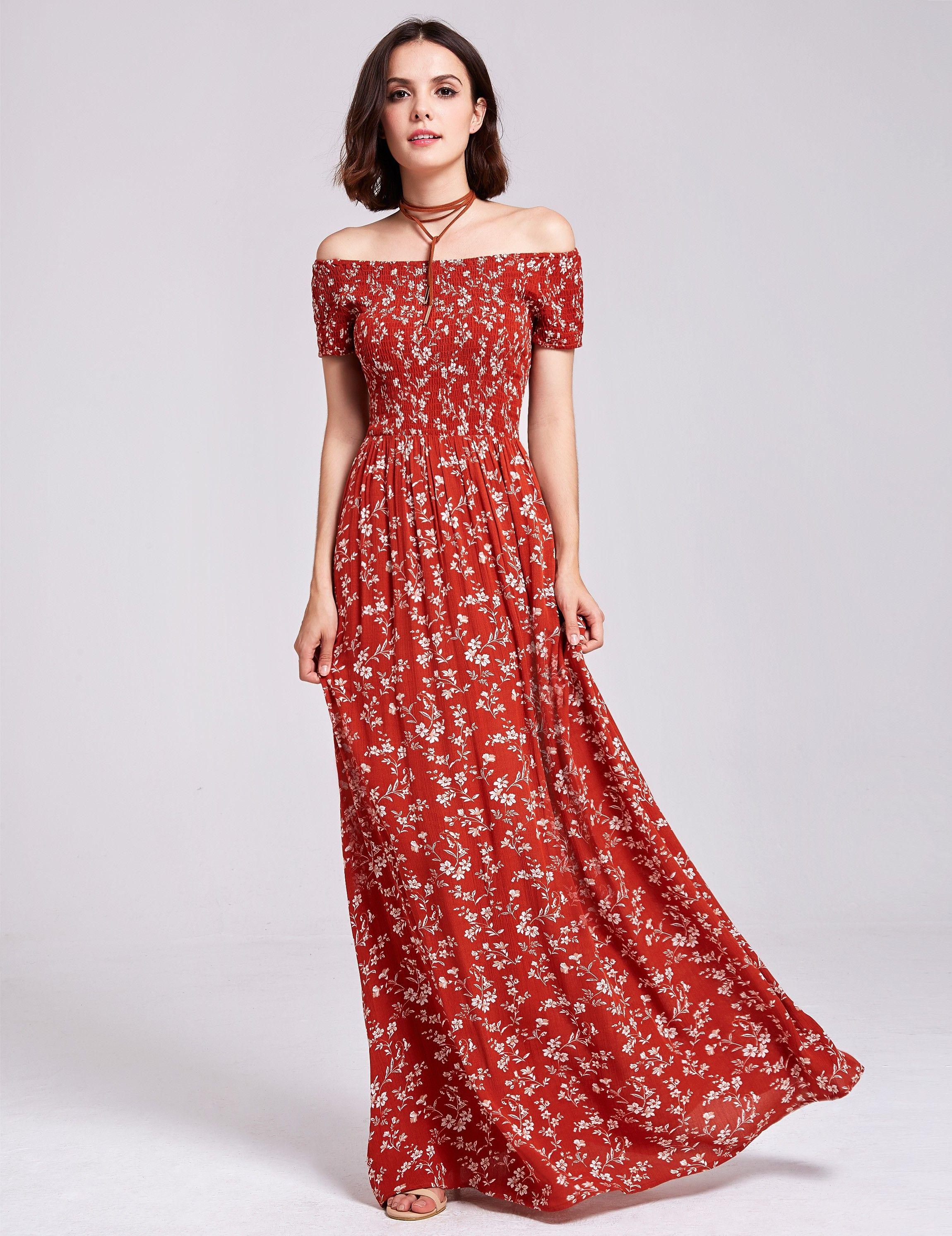 60df909b5c702 Alisa Pan Printed Off Shoulder Summer Maxi Dress | Ever-Pretty #summerdress  #summer #floraldress #printdress #EverPretty #offshoulderdress #maxidress
