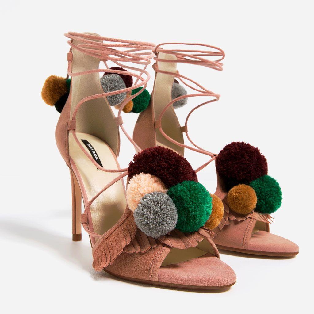 Todo Pompones Zapatos España Tacón Awqg6dxa Sandalia Ver Zara Piel Mujer xsCQBthrd