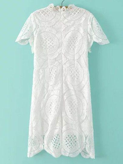 Kleid mit Reißverschluss und Spitzeneinsatz - weiß ...