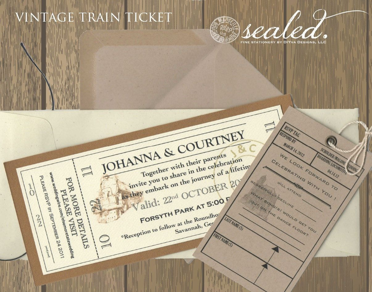 Vintage Train Ticket Invitation  Etsy  Ticket wedding