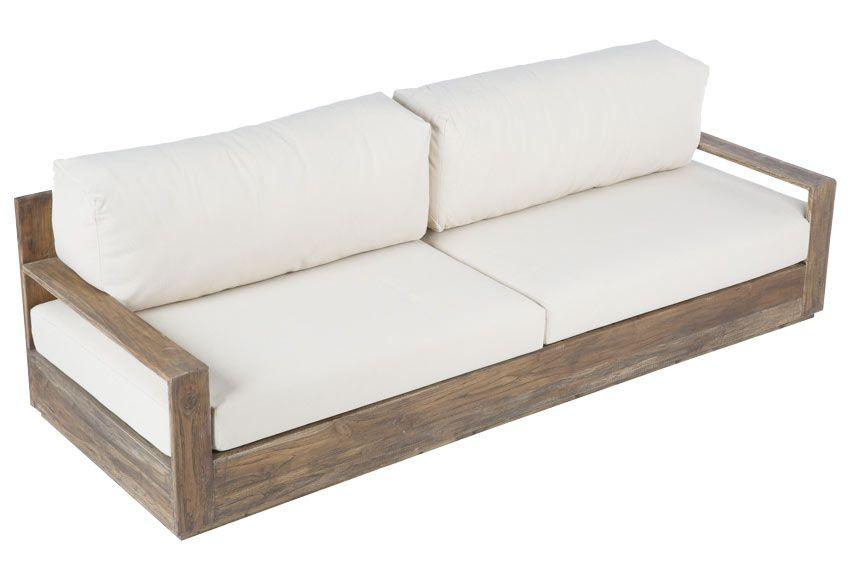 Sof de madera de teca en color natural Tiene cojines de