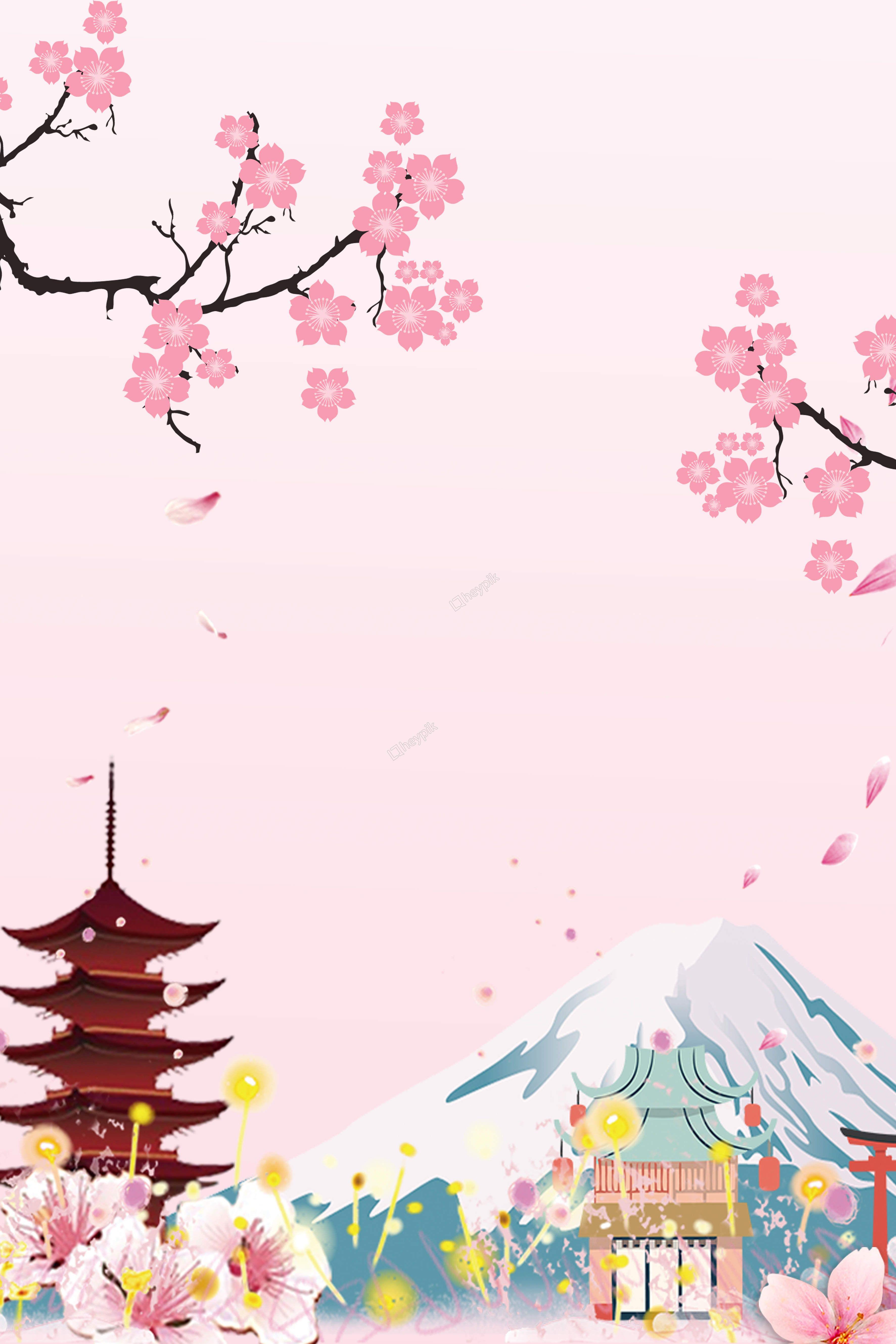 Japanese Travel Cherry Blossom Pink Advertising Background Seni Jepang Poster Bunga Seni Inspirasi