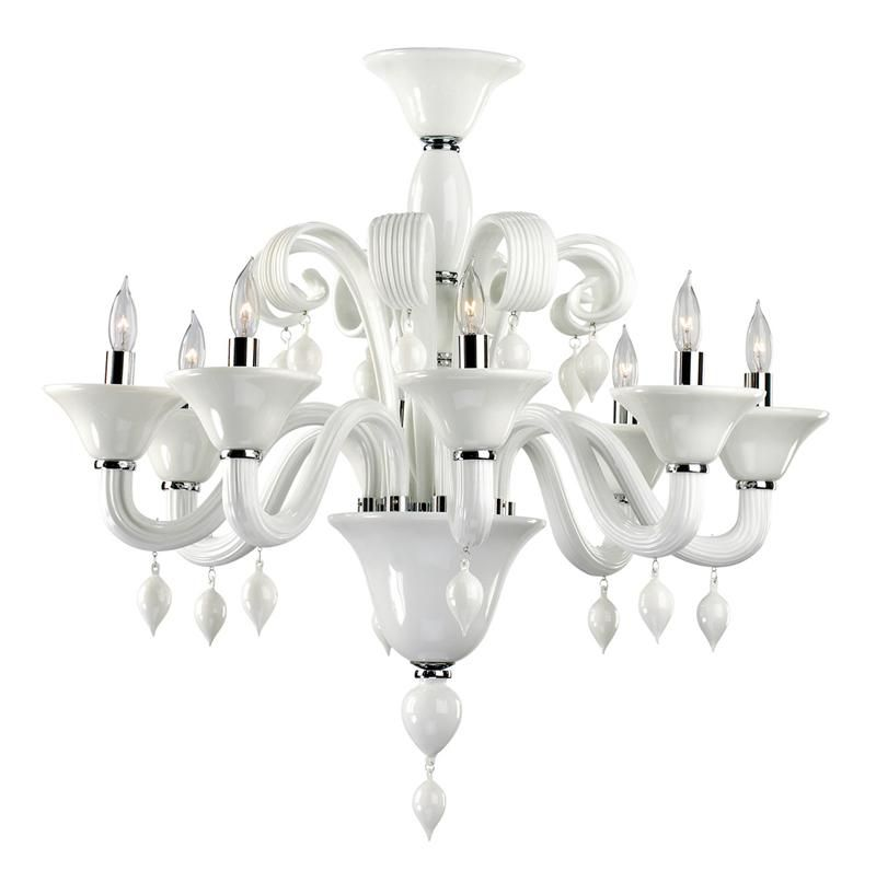 Treviso 8 Light Opaque White Murano Glass Style Chandelier is part of Contemporary Home Accessories Black White - Call it Modern Baroque, Eclectic Traditional, or Edgy Classic, this white glass chandelier makes a confident, stylish statement  Drawing upon traditional influ     more Call it Modern Baroque, Eclectic Traditional, or Edgy Classic, this white glass chandelier makes a confident, stylish statement  Drawing upon traditional influences, the beauty of white glass comes to life in its swirls, finials, and curves  less
