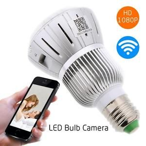 1080P WIFI HD SPY Hidden Camera E27 Real Light Bulb DVR Motion Detection Cam