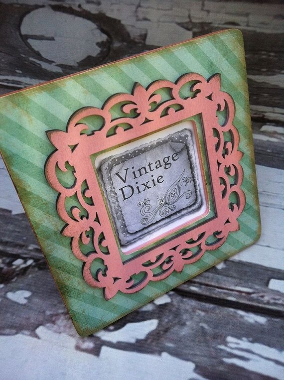 Wood Frame  Striped Pink Bordered Picture by VintageDixieMarket, $15.00