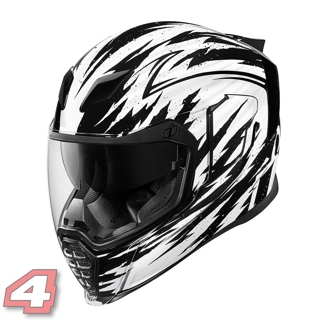 The popular Icon Airflite motorcycle helmet in the Fayder
