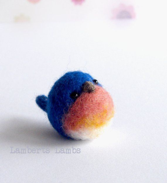 Miniature Needle felted blue bird #needlefelting