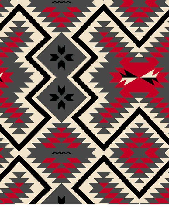 Anti-Pill Fleece Print Fabric-Southwest Red Grey | Fabrics, Gray ...