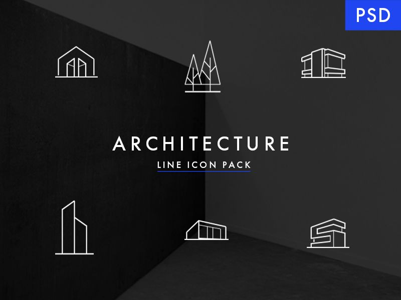 Minimal architecture line icon pack free psd minimal for Architecture icon