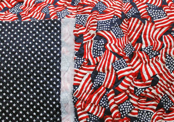 "Fabri-Quilt Double Sided Pre-Quilted Reversible Fabric Stars Stripes 3 Yards 44"" #FabriQuilt"