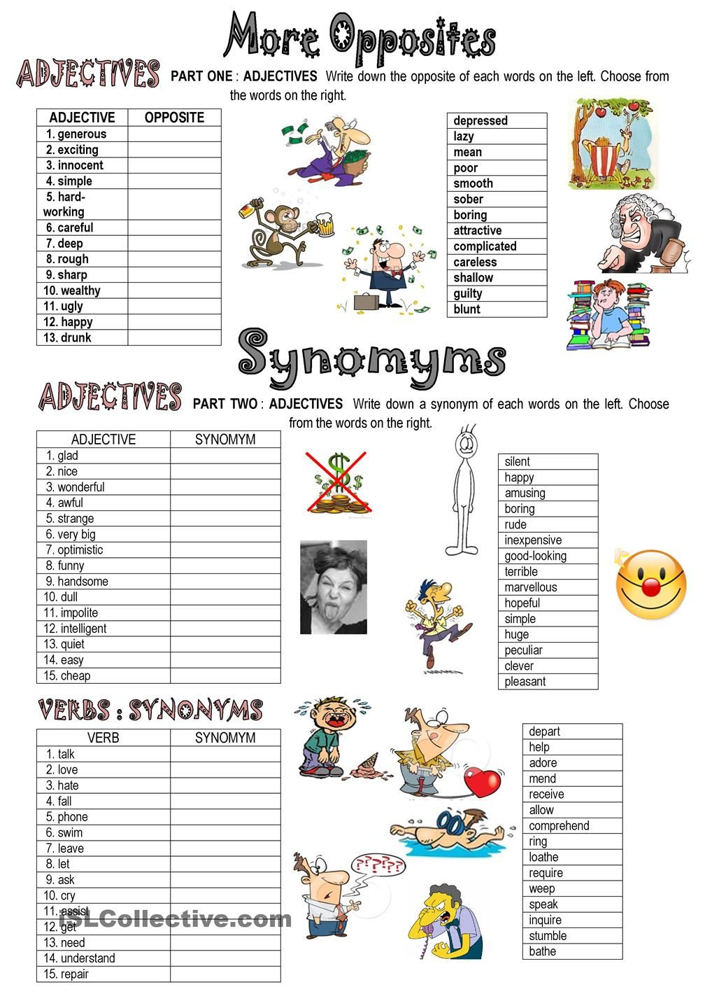 SYNONYMS AND OPPOSITES | ESL worksheets of the day | Teaching