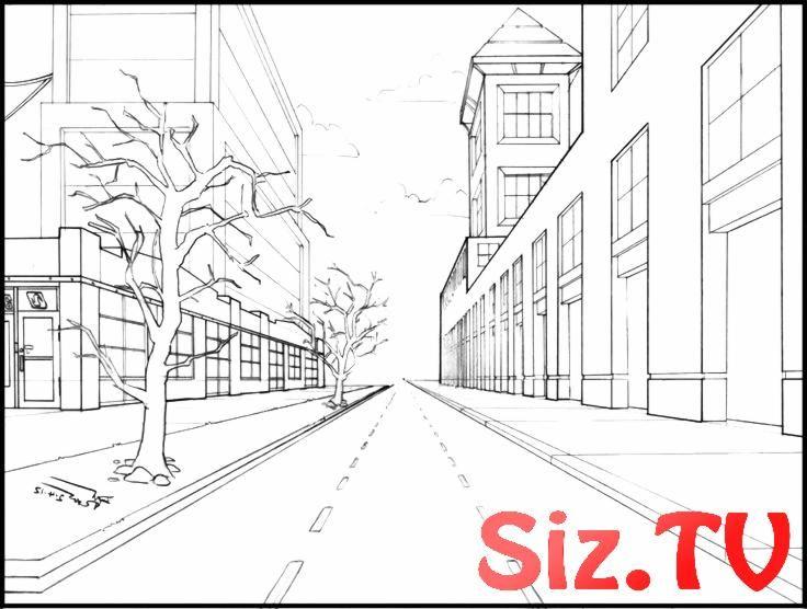Perspektivisches Zeichnen Straßenschlucht