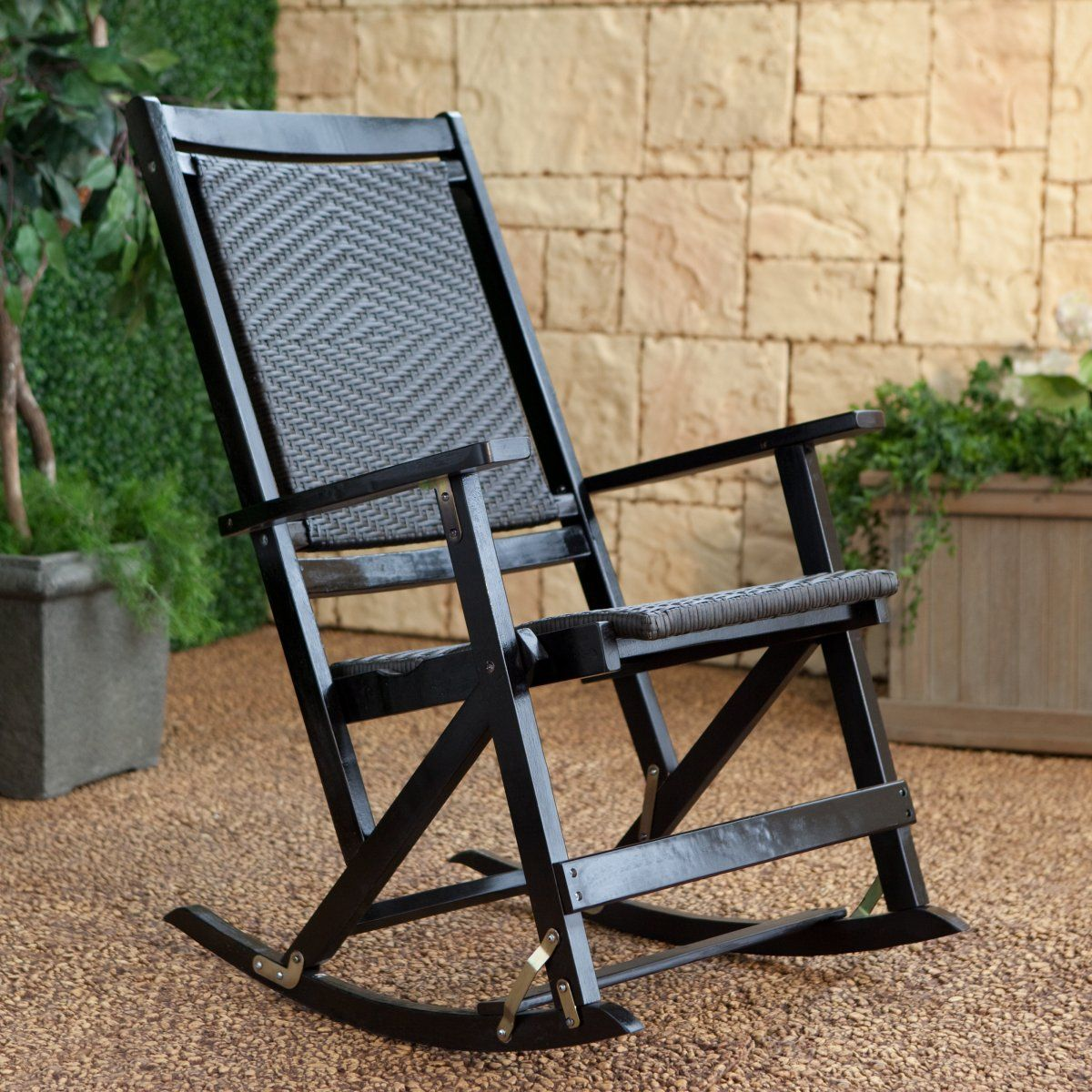 Willow Bay Folding Resin Wicker Rocking Chair  Dark