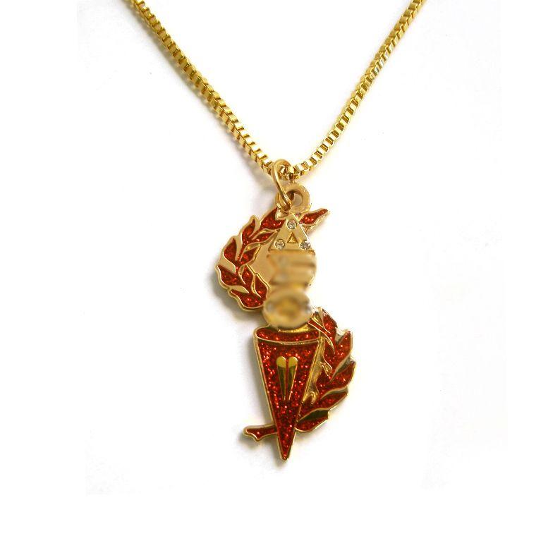 Delta Sigma Theta Earrings: Delta Sigma Theta Torch Necklace- Gold